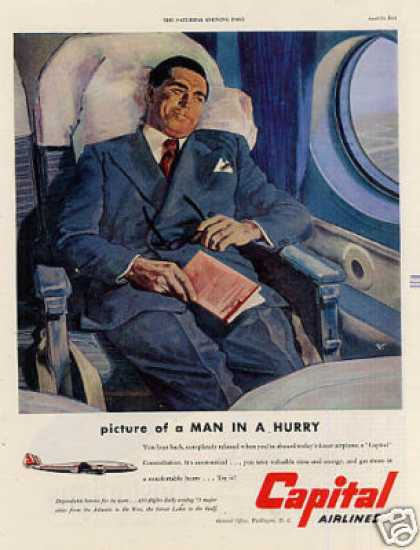 "Capital Airlines Ad ""Picture of a Man... (1951)"