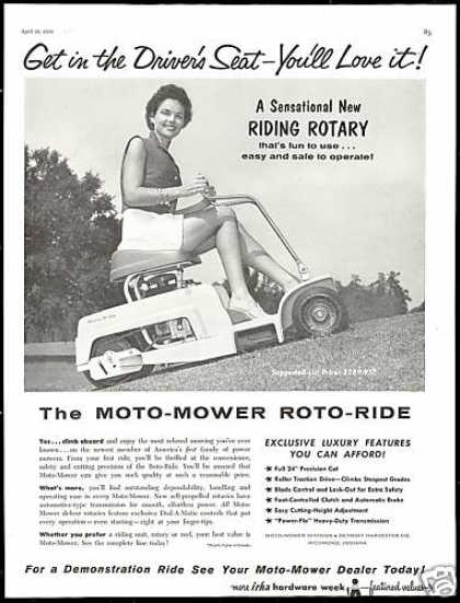 Moto Lawn Mower Riding Rotary Photo (1958)