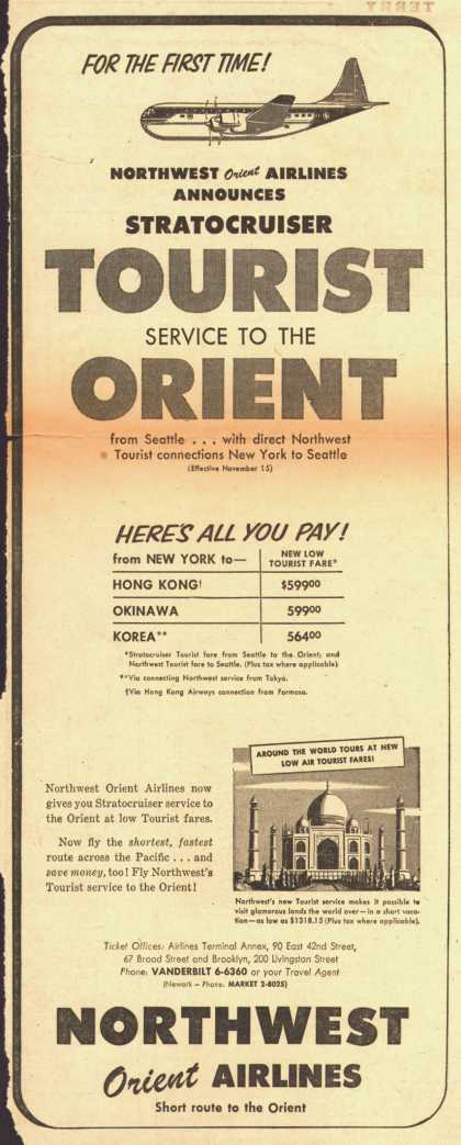 Northwest Airline's Stratocruiser Tourist to Orient – Northwest Airlines Announces StratocruiserTOURIST Service To The ORIENT (1953)