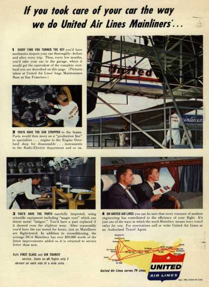 United Air Lines – If you took care of your car the way we do United Air Lines Mainliners... (1953)