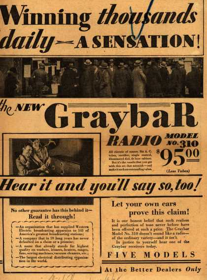 Graybar Radio – Winning thousands Daily: A sensation (1928)