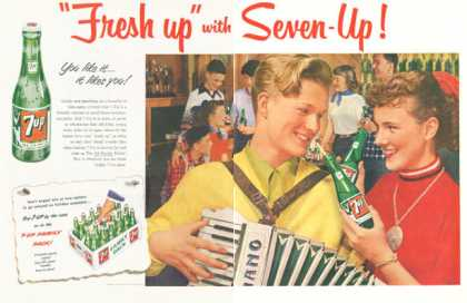 Seven 7 Up Accordian Bottle (1952)