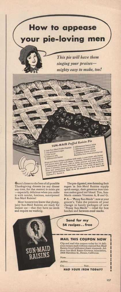 Sun Maid Raisions Puffed Pie (1941)