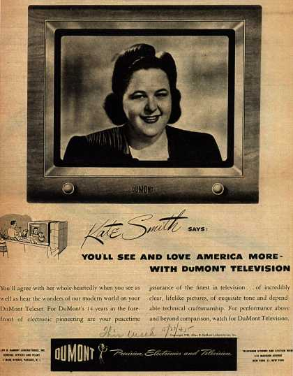 Allen B. DuMont Laboratorie's Television – Kate Smith says: You'll See and Love America More-With DuMont Television (1945)