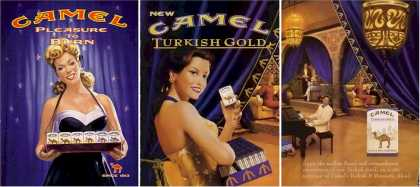 Camel Pleasure To Burn Ads – Set of 3 Cigarette Girl Ads (2000)