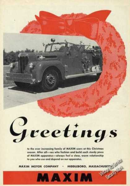 Maxim Fire Truck Photo Christmas Greetings (1956)