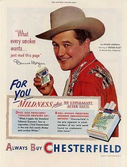 Chesterfield Cigarettes Ad Dennis Morgan (1951)