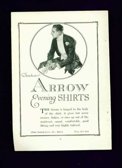 Arrow Evening Shirts C Ad Probably Leyendecke (1915)