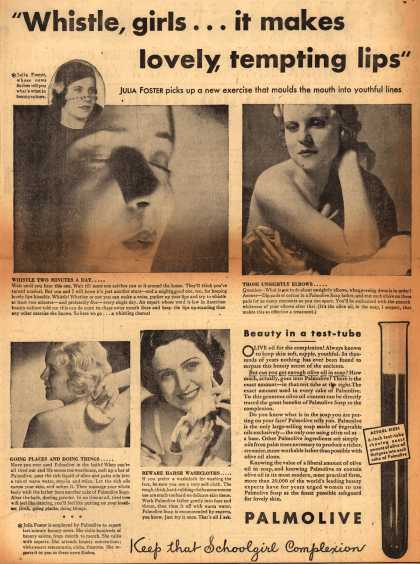 "Palmolive Company's Palmolive Soap – ""Whistle, girls...it makes lovely, tempting lips"" (1932)"