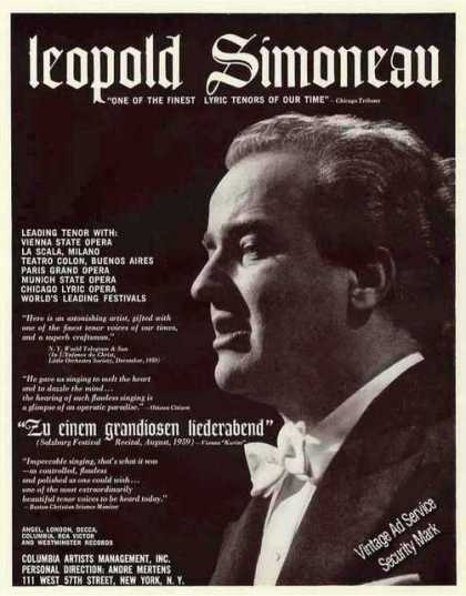 Leopold Simoneau Photo Lyric Tenor Opera Trade (1960)