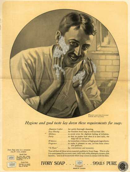 Procter & Gamble Co.'s Ivory Soap – Hygiene and good taste lay down these requirements for soap: (1922)