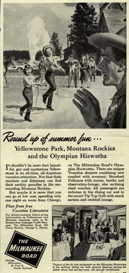 Milwaukee Road's Yellowstone Park, Montana Rockies, Hiawatha – Round up of summer fun... (1948)