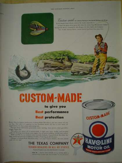 Texaco Havoline Motor Oil Custom Made Fishing Theme (1950)