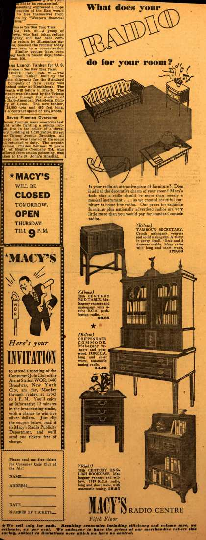Macy's Radios – What Does Your Radio Do For Your Room? (1939)
