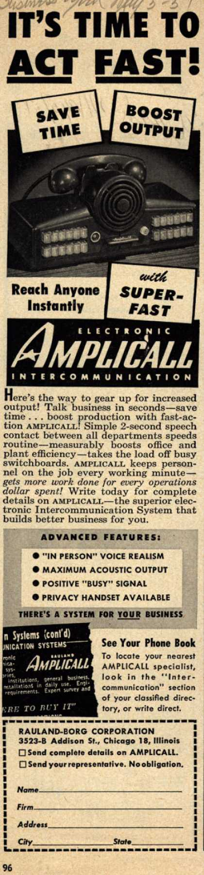 Rauland-Borg Corporation's Amplicall Intercomm – It's Time to Act Fast (1951)