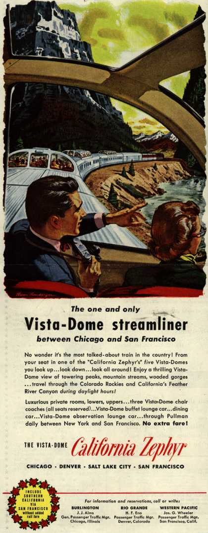 California Zephyr – The one and only Vista-Dome streamliner between Chicago and San Francisco (1954)