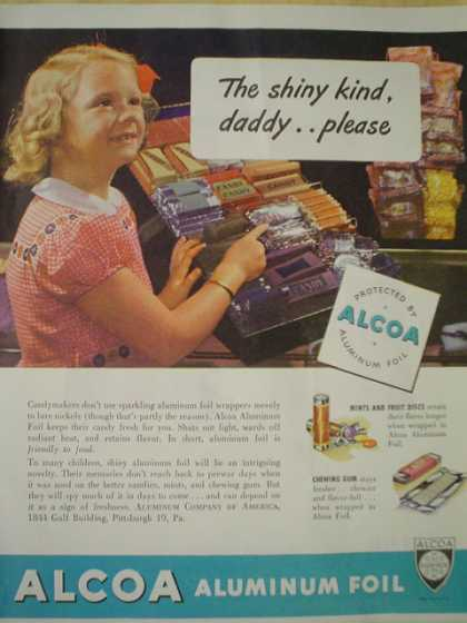 Alcoa Aluminum foil. Little girl candy theme (1945)