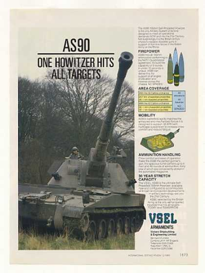VSEL AS90 155mm Self-Propelled Howitzer Photo (1989)