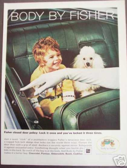 Child & White Poodle Dog Photo Original Gm Car (1966)