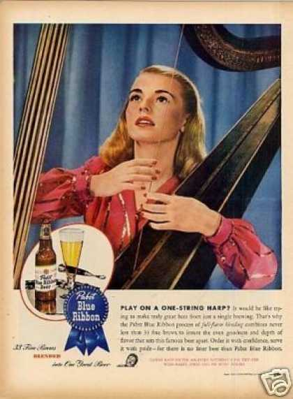 "Pabst Blue Ribbon Beer Ad ""Play On a One-string... (1945)"