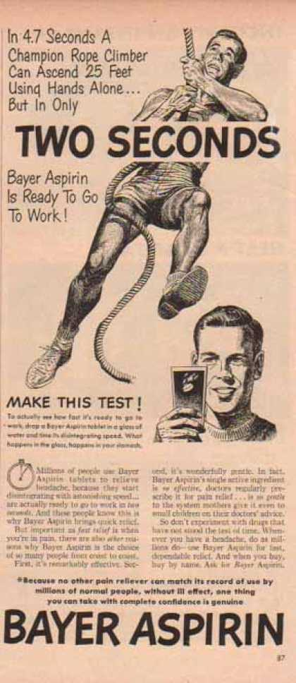 Bayer Aspirin – Rope Climbing Pain Reliever Record (1949)