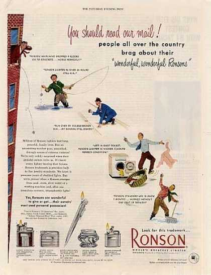 "Ronson Lighters Ad ""You Should Read... (1950)"