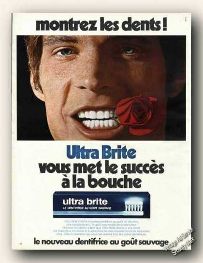 Ultra Brite Tooth Paste French Language Ad Dental (1972)