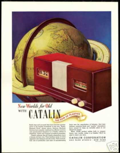 Catalin Corporation Radio Numeral Clock Globe (1940)