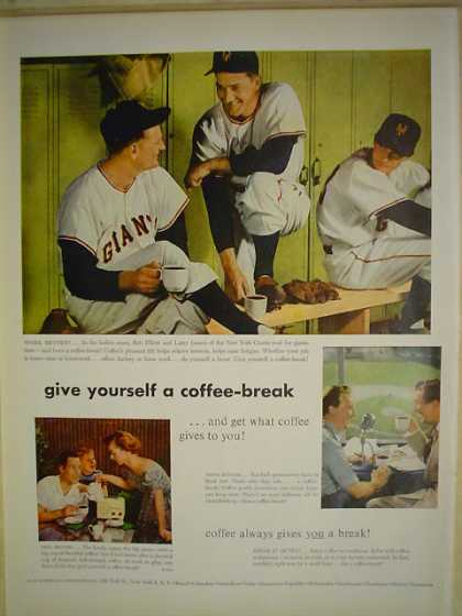 Coffee Coffee Always gives you a break Baseball theme (1952)