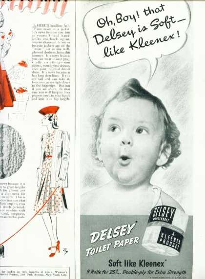 Delsey Wondersoft Toilet Paper Ad 1/2 Pg (1940)