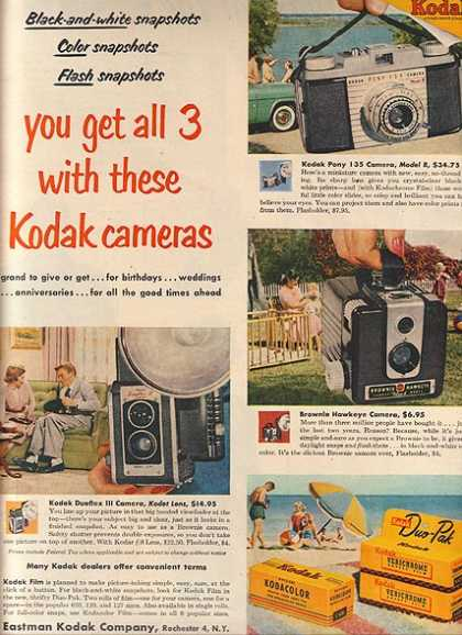 Kodak's Pony 135 camera Model B, Brownie Hawkeye and the Duaflex III camera with the Kod (1954)
