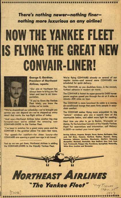 Northeast Airline's Convair-Liner – NOW THE YANKEE FLEET IS FLYING THE GREAT NEW CONVAIR-LINER (1949)