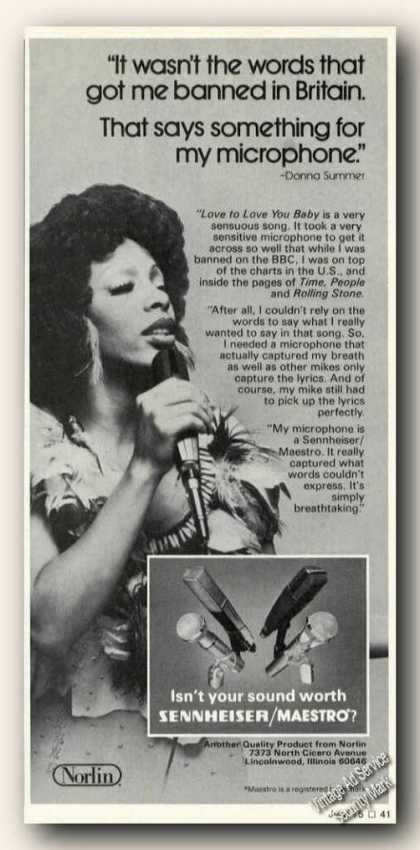 Donna Summers Photo Sennheiser Microphones (1976)