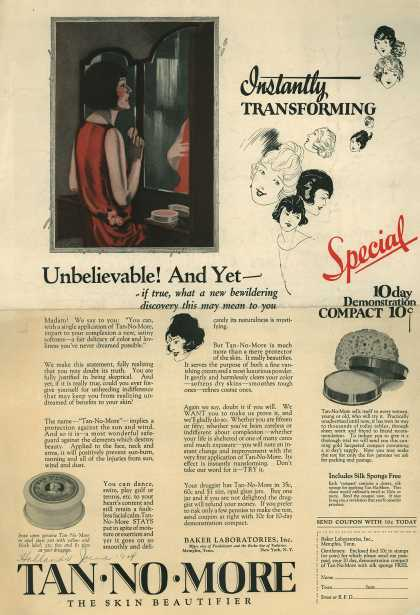Baker Laboratorie's Tan-No-More – Unbelievable! And Yet - (1924)