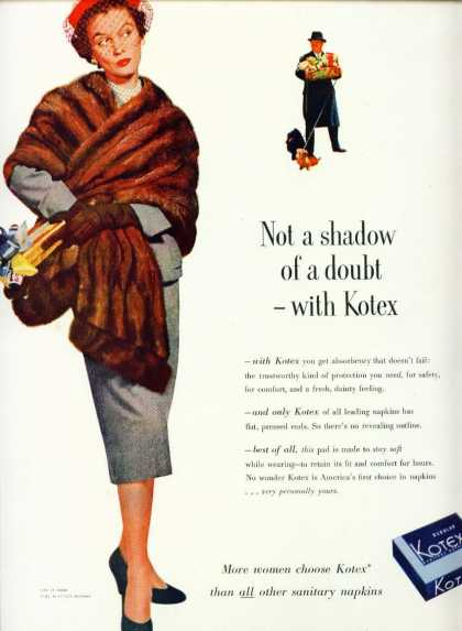 Kotex Sanitary Napkins C Ad Not a Shadow of a Doubt (1953)