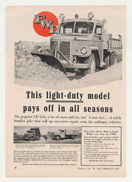 FWD Light-Duty LD Truck Snow Plow Photo (1952)
