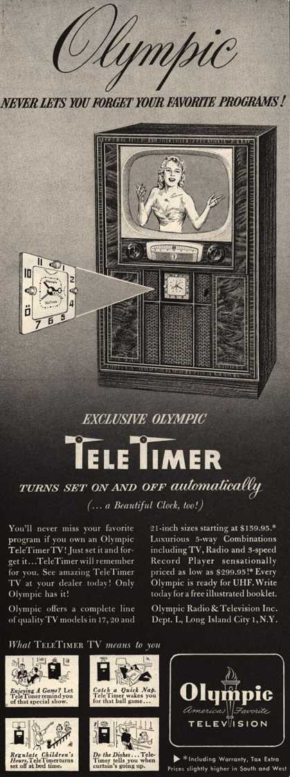 Olympic Radio & Television's TeleTimer TV – Olympic Never Lets You Forget Your Favorite Programs (1952)