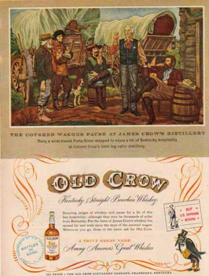 Old Crow Whisky &#8211; Covered Wagons Visit James Crow&#8217;s Distillery (1952)