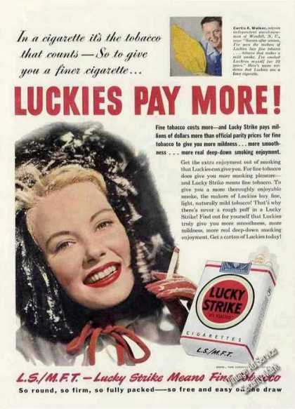 Lucky Strike Pays More! Curtis A. Walker (1950)