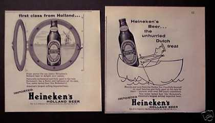 Heineken Holland Beer 2 Print Ads (1956)