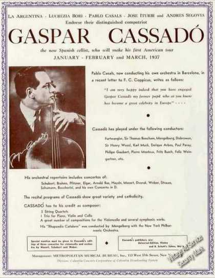 Gaspar Cassado Photo Cellist Booking (1936)