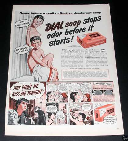 "Dial Soap ""Stops Odor"" Ad, Exc (1949)"