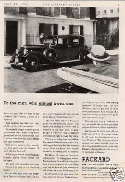 "Packard Car Ad ""To the Man Who Almost... (1933)"