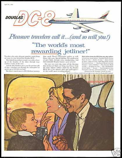 Douglas DC-8 DC8 Airplane Family Camera Art (1960)