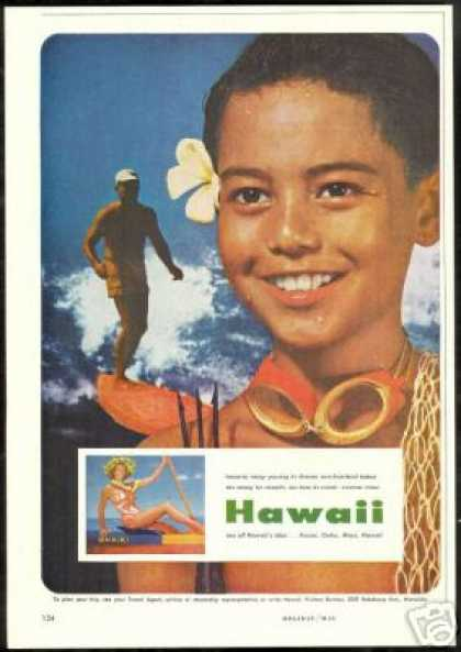 Hawaii Surfer Boy Diver Fishing Waikiki Travel (1957)