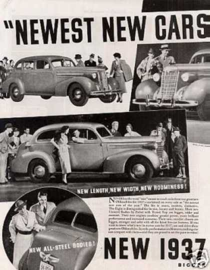 Oldsmobile Six & Eight Cars Ad 2 Page (1937)