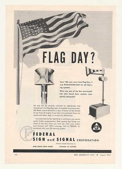 Federal Sign Signal CD Warning Siren Flag Day (1954)