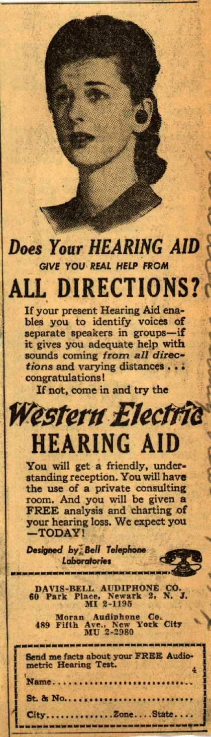 Davis-Bell Audiphone Company's Hearing Aid – Does Your Hearing Aid Give You Real Help From All Directions? (1944)
