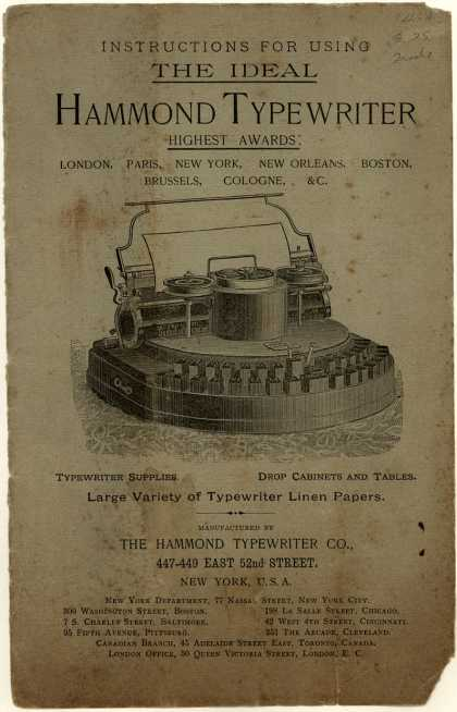 Hammond Typewriter Co.'s Typewriters – Hammond – Instructions for using the Ideal Hammond Typewriter (1890)