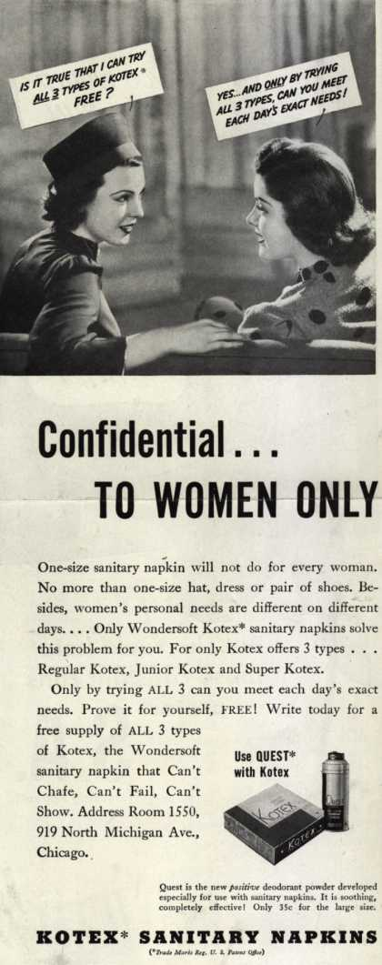 Kotex Company's Wondersoft Kotex – Confidential...To Women Only (1938)